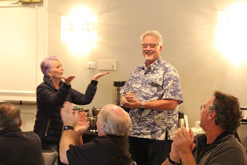 Patricia Sarris presenting W. E. Loeber Friendship Award to Robert Pedersen